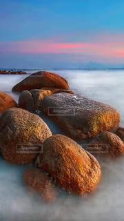 岩の上に座っているぬいぐるみの群の写真・画像素材[3614898]