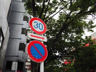 通りの側に標識の写真・画像素材[3697744]