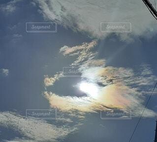 幸運の虹色彩雲の写真・画像素材[3673520]