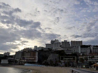 海辺の温泉街の写真・画像素材[3656687]
