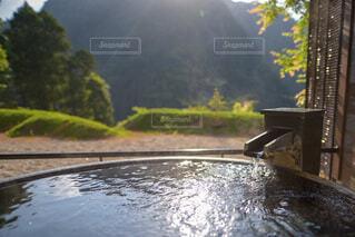 個室露天風呂の写真・画像素材[3664201]