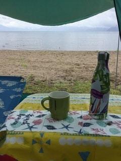 湖畔のキャンプの写真・画像素材[3677193]