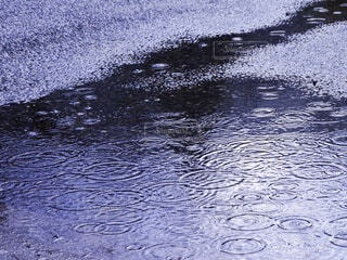 水溜まりと雨の写真・画像素材[3693246]