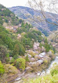 亀山公園から見た保津峡の春の写真・画像素材[1830459]