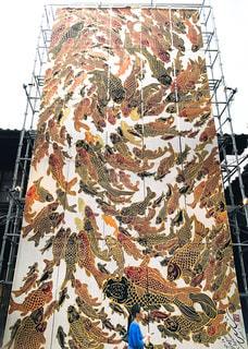祇園祭で飾られている巨大なアートの写真・画像素材[3496906]