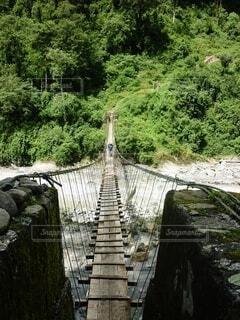 川に掛かる吊り橋の写真・画像素材[4037585]