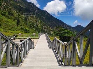 長い木造橋の写真・画像素材[3723165]