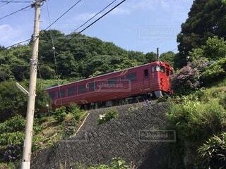 森の近くで列車の線路を下って移動する列車の写真・画像素材[3708956]