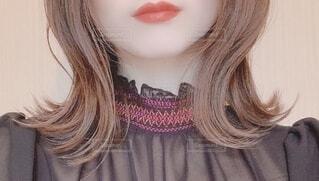 女性の口元の写真・画像素材[3821359]
