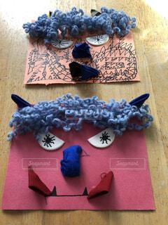 小学生が作った鬼の顔の工作の写真・画像素材[4110019]
