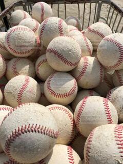 カゴの中のたくさんの野球ボールの写真・画像素材[4626933]