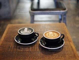 ラテアート カフェの写真・画像素材[3732645]