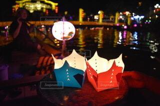 ベトナム ホイアン ランタン祭り 灯籠流しの写真・画像素材[3736268]