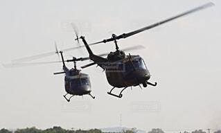 陸上自衛隊 ヘリコプター UH-1の写真・画像素材[3758129]