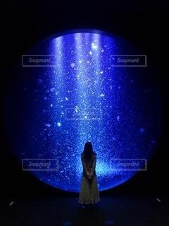 青い光を持つガラスの写真・画像素材[3773978]