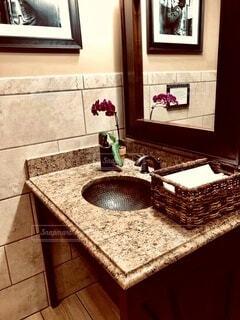 鏡付きマーブルの洗面台の写真・画像素材[3961219]