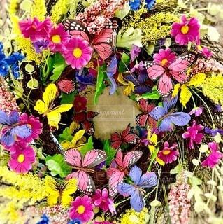 花と蝶々のリースの写真・画像素材[4058324]