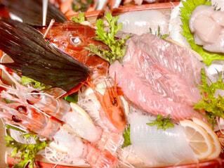 魚介刺身の舟盛りのクローズアップの写真・画像素材[4449167]