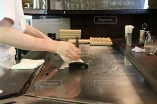 湯本のステーキハウス吉池のランチ、鉄板焼きのステーキの写真・画像素材[3866865]