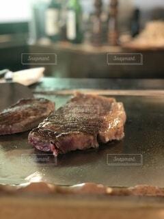 湯本のステーキまハウス吉池のランチ、鉄板焼きのステーキの写真・画像素材[3868966]