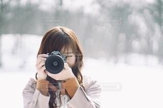 雪景色とカメラの写真・画像素材[3857914]