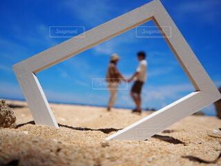 浜辺の看板の写真・画像素材[3853760]