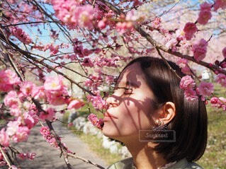 花の前に立っている女性の写真・画像素材[3897325]