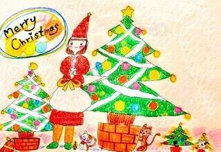 クリスマスツリーとサンタ姿の女の子と2匹の猫のイラストの写真・画像素材[3983256]