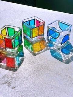 キラキラガラスキューブの写真・画像素材[3875643]