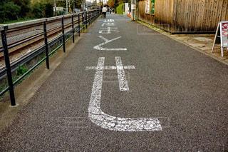 道の端にサインの写真・画像素材[1662419]