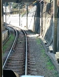 運転席越しの線路の写真・画像素材[3881839]