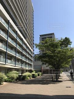 建物の前に空の駐車場の写真・画像素材[911910]