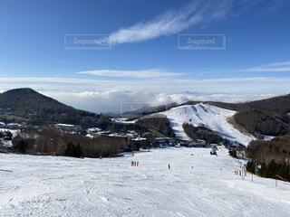 雪山から見た雲海の写真・画像素材[3955059]