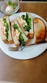 サンドイッチとサラダの一皿の写真・画像素材[4134208]
