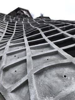 崖崩れ防止のワッフルの写真・画像素材[4013214]