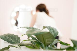 鏡をのぞき化粧をする女性の写真・画像素材[4018649]