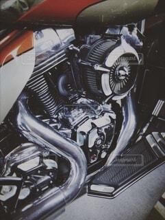 バイクのエンジンの写真・画像素材[4105600]