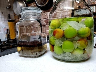 自家製カルアと梅酒の写真・画像素材[4025417]