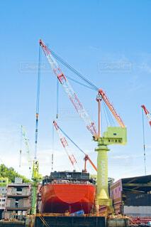 造船中の大型船の写真・画像素材[4680492]