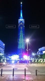 福岡タワー クリスマスイルミネーションの写真・画像素材[4032490]