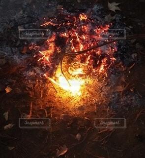 パチパチ焚き火の写真・画像素材[4070697]