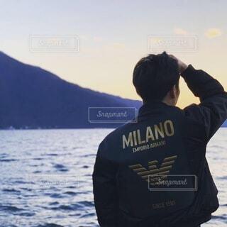 ルガーノ湖の夕焼けの写真・画像素材[4080096]