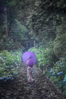 カラフルな傘を持っている人の写真・画像素材[2138135]