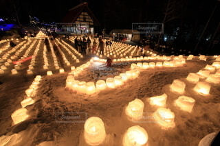北海道札幌市定山渓 雪灯路(ゆきとうろ)の写真・画像素材[4119710]