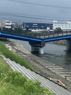 豪雨により損壊した黄瀬川の橋の写真・画像素材[4628502]