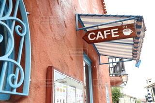 地中海村のカフェの看板の写真・画像素材[4180526]