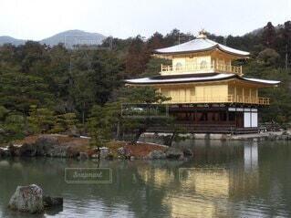 金閣寺とまわりの池と自然の写真・画像素材[4183807]