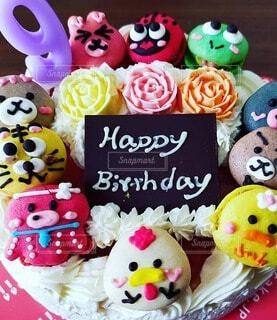 動物マカロン誕生日ケーキの写真・画像素材[4187015]