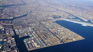 函館に向かう飛行機から見た北海道の写真・画像素材[4265177]