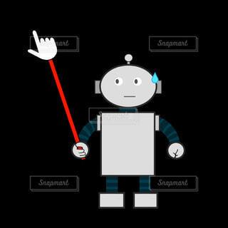 指差し棒を持つロボット(汗)の写真・画像素材[4221465]